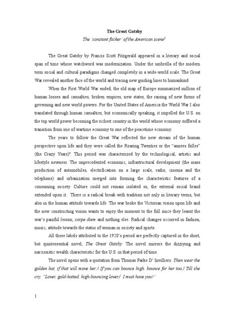 Essay On The Great Gatsby by The Great Gatsby Essay Docshare Tips