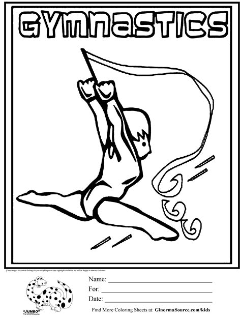 olympic gymnastics coloring page olympic gymnastics ribbon coloring page kids pinterest