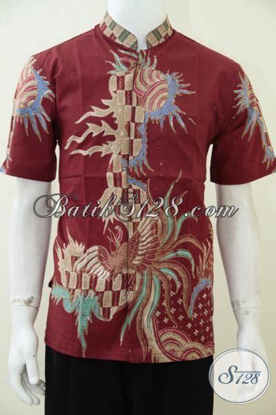 Baju Koko Gaul Merah hem batik koko lengan pendek dasar merah motif keren
