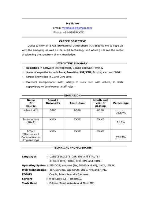 One Page Resume Exles by One Page Resume Format For Freshers 28 Images Resume 1