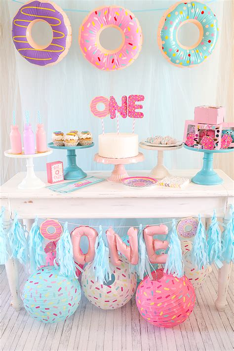 Pastel Baby Shower Decorations Donut First Birthday Party