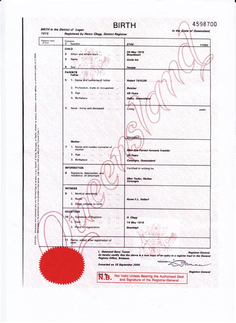 full birth certificate qld hainings and related families