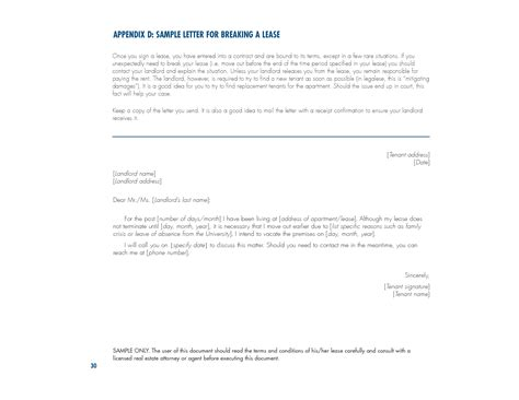 Lease Cancellation Letter From Landlord letter from landlord to tenant to terminate lease 30 dy