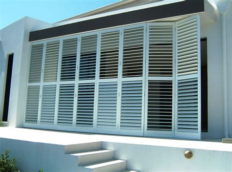 Outdoor Privacy Blinds For Porch Aluminum Exterior Plantation Shutters Cleveland Shutters