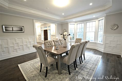 contemporary dining room with wainscoting by elite staging paint colors tips when selling elite staging and design