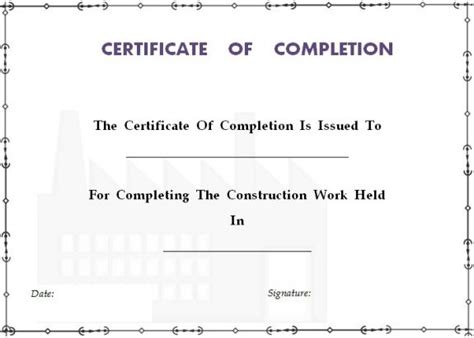 construction certificate of completion template certificate of completion template 55 word templates