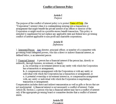 conflict of interest policy template conflict of interest policy harbor compliance
