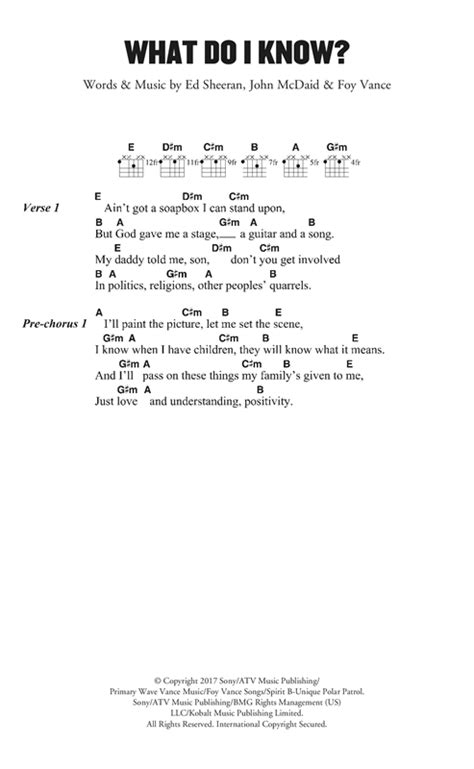 ed sheeran what do i know chords what do i know sheet music by ed sheeran lyrics chords