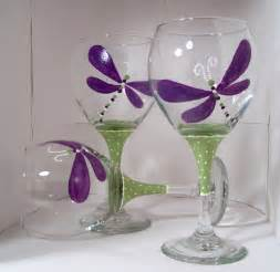 Painted Wine Glasses Painted Wine Glass Dragonfly Craft Ideas