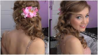 front view of side swept hairstyles side swept cascading curls easy diy prom hair tutorial