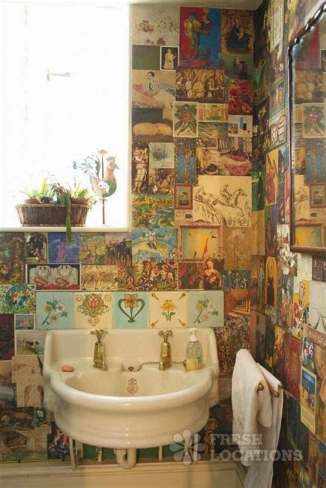 decoupage bathroom notebook wall decoupage
