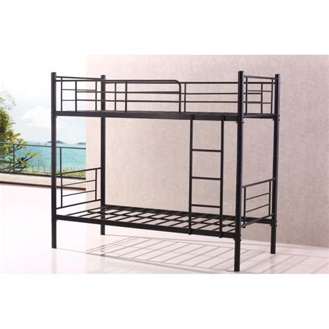 Stylish Single Sturdy Black Metal Bunk Bed Frame Heavy How To Make A Bed Frame More Sturdy