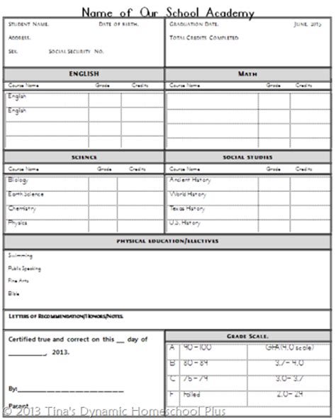 Homeschool High School Transcript Free Homeschool Transcript Template