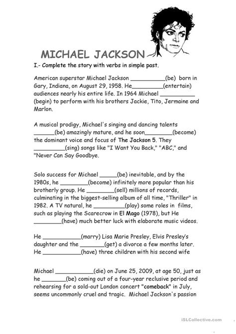 English Worksheets Michael Jackson 180 S Biography | michael jackson biography worksheet free esl printable