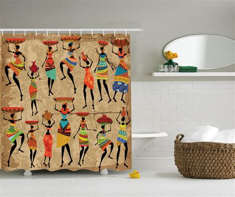shower curtains art african american art decor afrocentric women in tribal