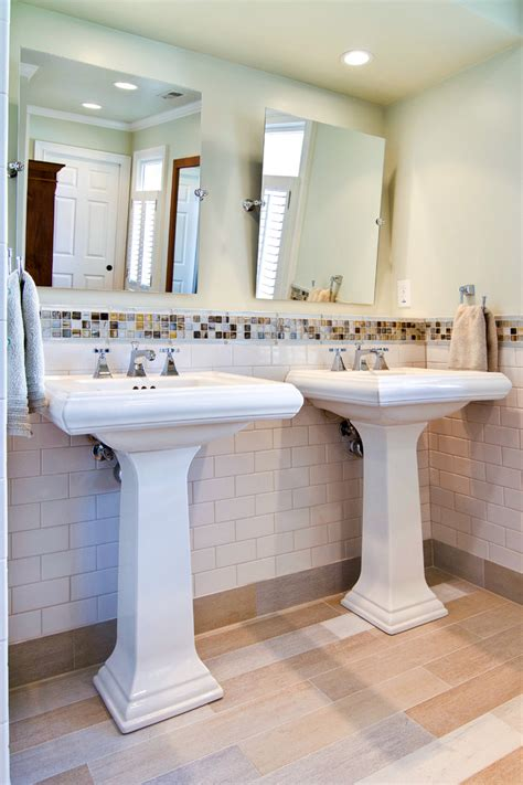Pedestal Sink Bathroom Ideas Double Pedestal Sink Bathroom Contemporary With Childrens