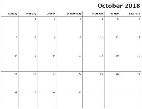 free printable october 2018 calendar word excel pdf blank templates