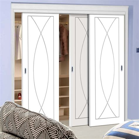 Flush Wardrobe Doors by Thruslide Pesaro Flush 3 Door Wardrobe And Frame Kit White Primed