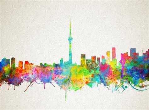Toronto Artwork by Toronto Skyline Watercolor Painting By Bekim Art