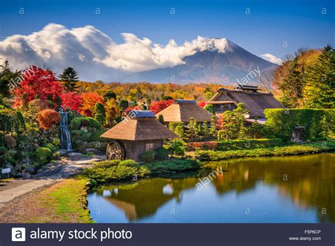 houses to buy in japan oshino japan historic thatch houses with mt fuji in the background stock photo