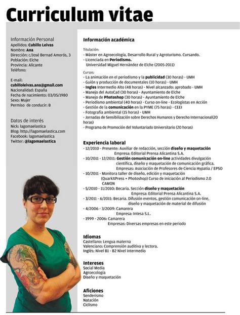 Plantilla De Curriculum Fotografo Plantillas Curriculum Vitae Ecro Word Curriculum Vitae Words Curriculum And Search