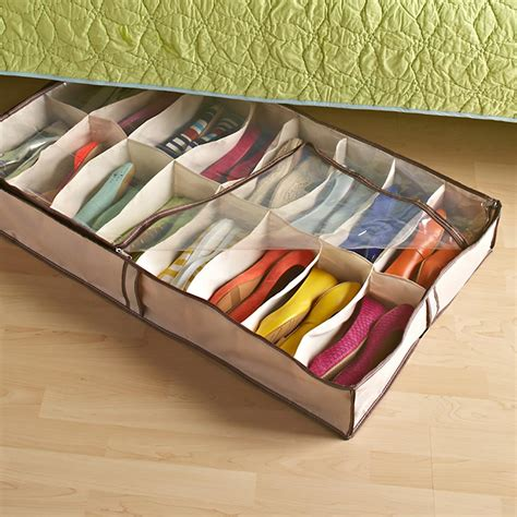 Shoe Organizer Bed by Bed Shoe Storage Tweed 16 Pair Underbed Shoe