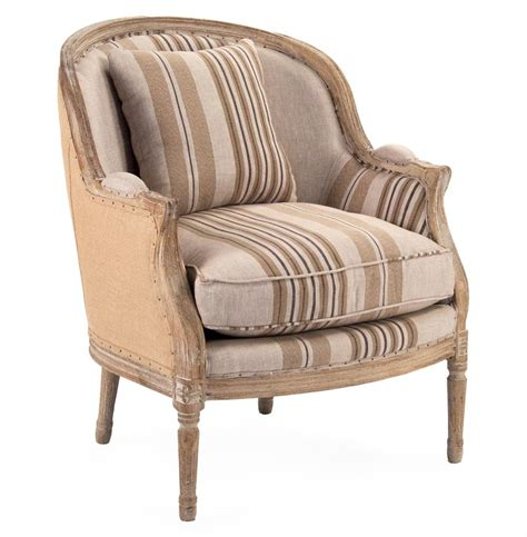 Brown Striped Armchair Raymond Country Burlap Brown Stripe Club Chair