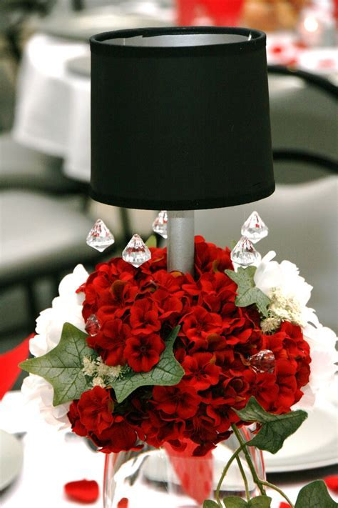 Red and White Silk Valentine Centerpiece   Floral