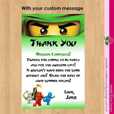 free printable ninjago thank you cards birthday party notes to tipp on ninjago thank you note