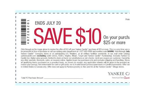 yankee candle coupons code for 10 off 25