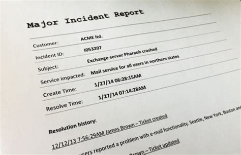 itil major incident report template itil major incident management how to handle it