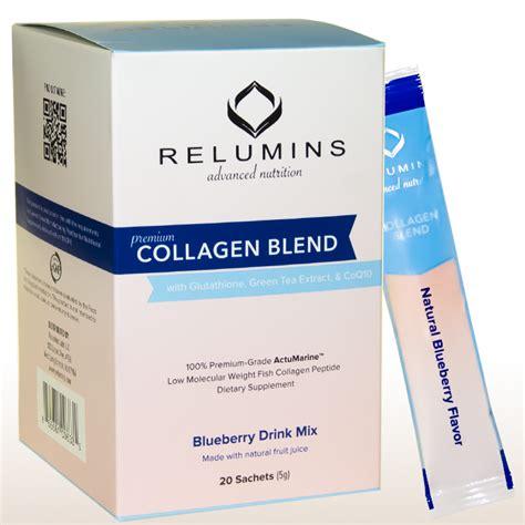 Gluta Green relumins premium collagen blend 20 sachets 100 premium grade actumarine collagen with