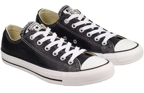 converse all ox low leather black and white shoes