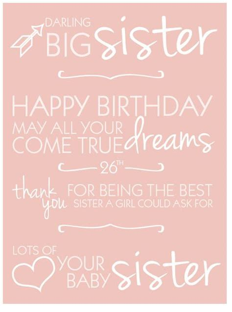Birthday Quotes For Big From Happy Birthday Sister Quotes Happy 26th Birthday Quotes