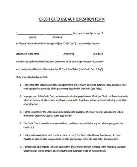 Company Credit Card Use Agreement Template by Business Credit Card Employee Agreement Gallery Card