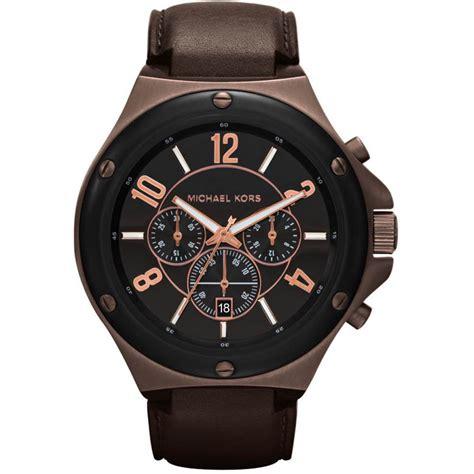 s chronograph black leather mk8273