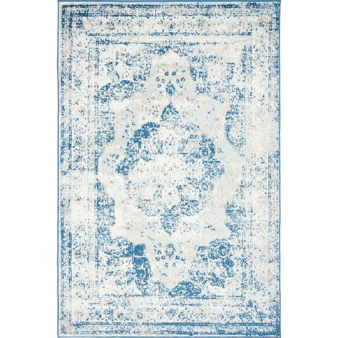 blue rugs 6 unique loom monaco blue 4 ft x 6 ft area rug 3134076 the home depot