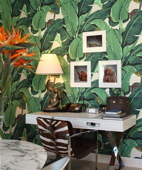 wallpaper martinique banana leaf the glam pad a palm beach apartment by william t georgis