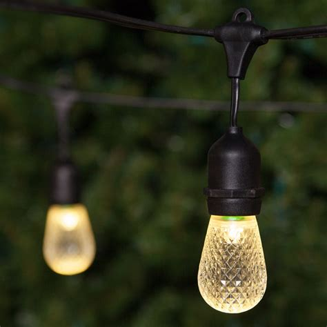 Led String Lights For Patio with Patio Lights Commercial Warm White Led Patio String Lights 24 S14 E26 Bulbs Black Wire