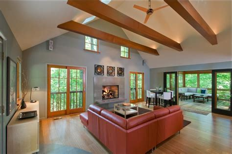 vaulted ceiling with exposed beams exposed beam ceiling lighting living room contemporary