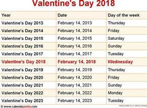 Calendar 2018 Valentines Day When Is S Day 2018 2019 Dates Of S Day