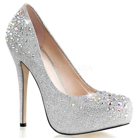 silver rhinestone studded formal dress shoe bridal