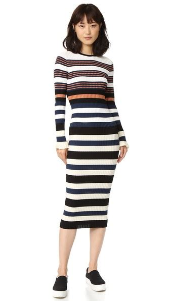 Bt8872 White Harvest Burberry opening ceremony sleeve striped maxi dress harvest