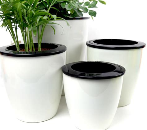 office pots 3pcs self watering planter automatic watering plant pots pp plastic office home decor flower