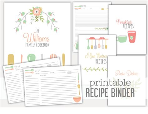 8 best images of recipe book dividers free printables