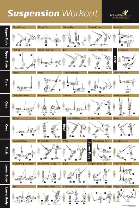 awesome suspension exercise poster for trx workouts i ve never seen so many trx exercises all