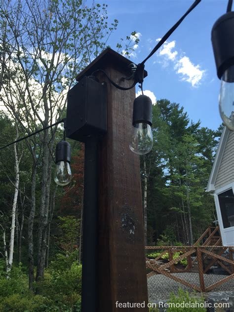 Remodelaholic Easy Diy Outdoor Lighting Around A Fire Pit String Light Post