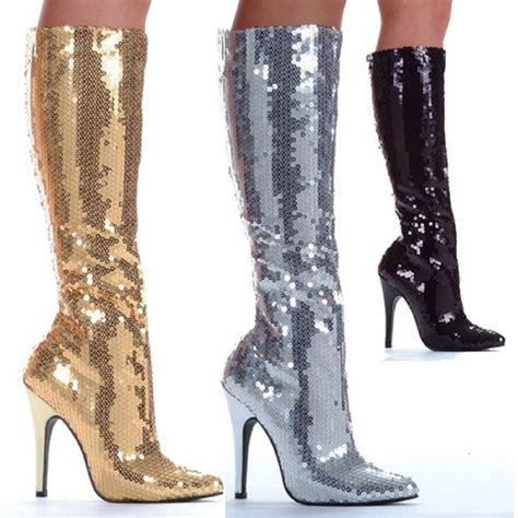 shiny sequin boots knee high 5 quot heels inner zipper larger