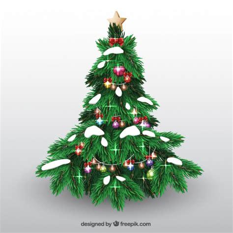 225 rbol de navidad con bolas y nieve descargar vectores gratis