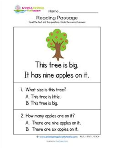 trees reading quiz for kids grade level worksheets a wellspring of worksheets